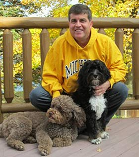 Dr. Gary Klein and his dogs, Jackson and Henry